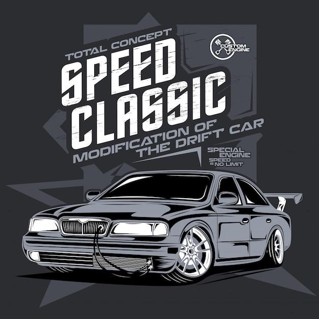スピードクラシックカー、ドリフトスポーツカーのイラスト Premiumベクター