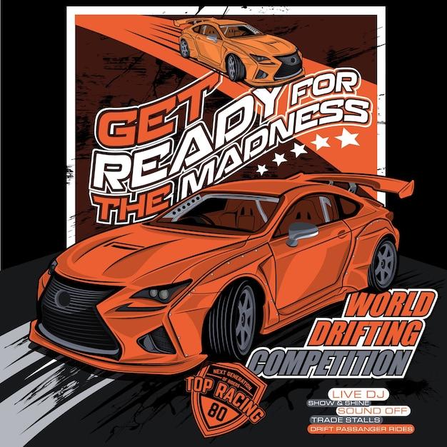 世界のドリフト競争、車のベクトルのイラスト Premiumベクター