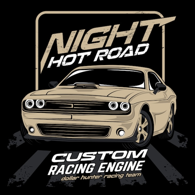 Ночная горячая дорога, освещенный автомобиль вектор Premium векторы