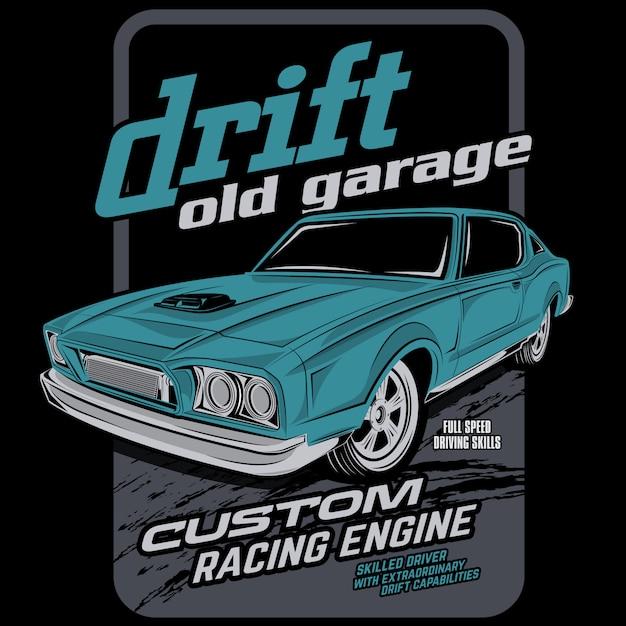 古いガレージを漂流 Premiumベクター