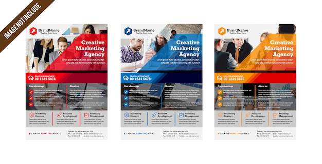 事業会社のチラシテンプレートレイアウト Premiumベクター