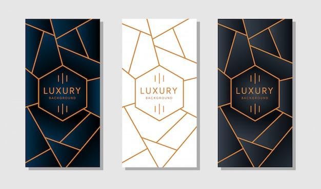 バナーまたは白い背景の上の現代黄金の幾何学的な枠線を持つカード。 Premiumベクター
