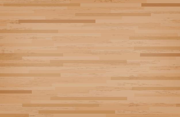 広葉樹のカエデバスケットボールコートの床。 Premiumベクター