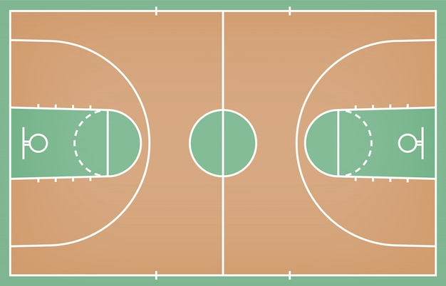 バスケットボールコートフロア、ウッドテクスチャ背景のライン Premiumベクター