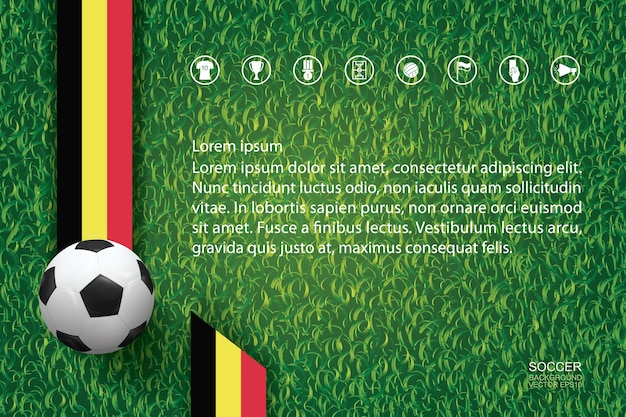背景には緑色の草の上にサッカーボール。 Premiumベクター