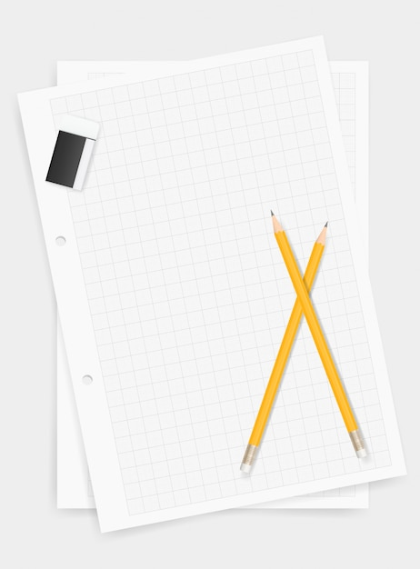 白い紙の背景に鉛筆と消しゴム。 Premiumベクター