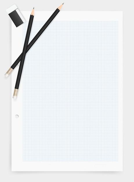 紙の背景に鉛筆と消しゴム。 Premiumベクター