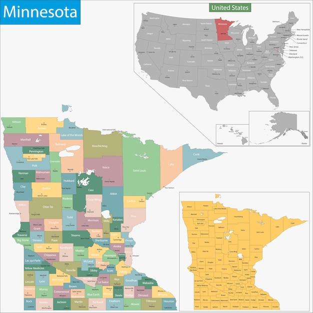 ミネソタ州の地図 Premiumベクター