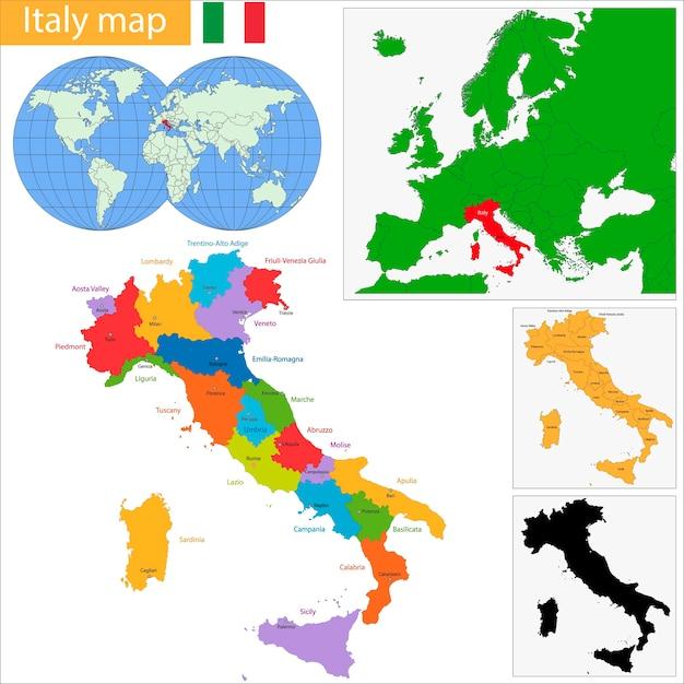 イタリア地図 Premiumベクター