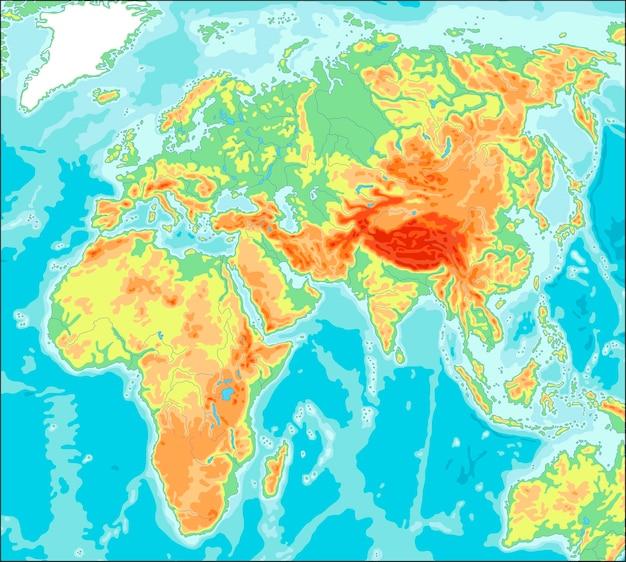 アジア中心の物理世界地図 Premiumベクター