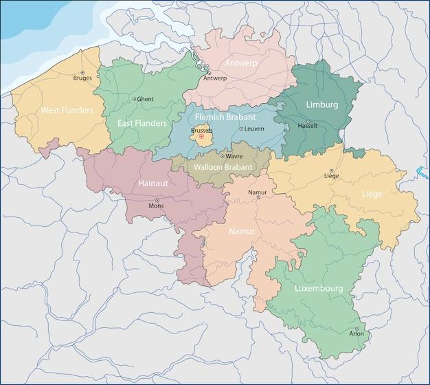 ベルギーの地図 Premiumベクター