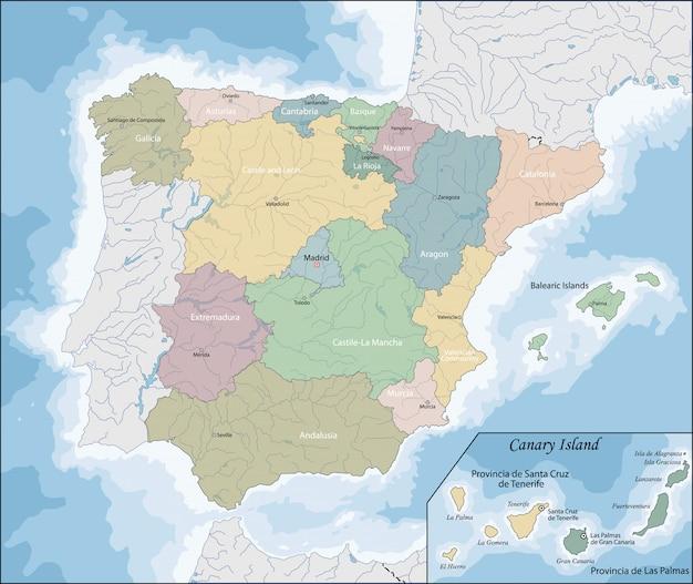 スペインの地図 Premiumベクター