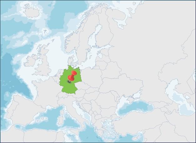Федеративная республика германия расположение на карте европы Premium векторы