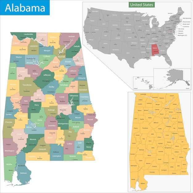 アラバマ州 Premiumベクター