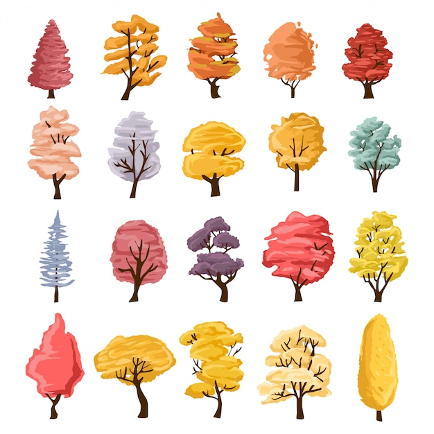 木のイラスト集。自然や健康的なライフスタイルのトピックを説明するために使用できます。 Premiumベクター