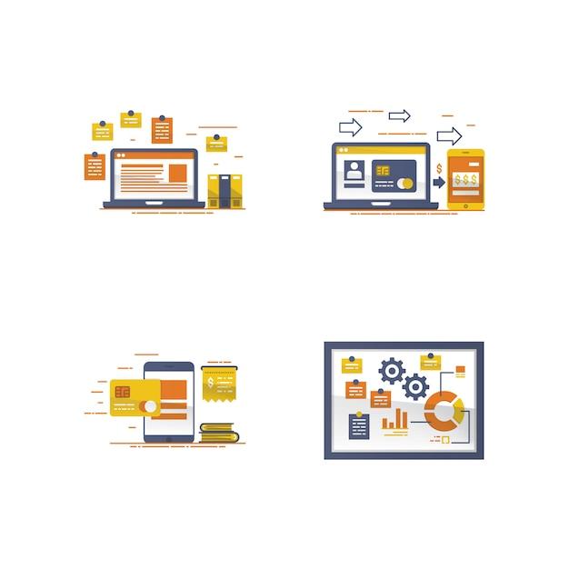 デバイスと付箋の図 Premiumベクター