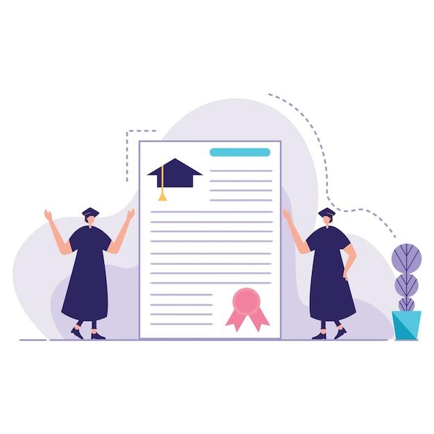 卒業生を祝うグループ学生のベクトル Premiumベクター