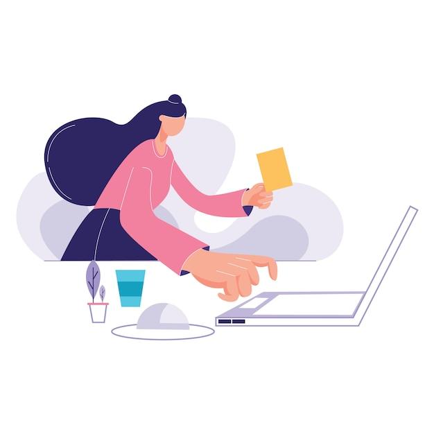 Деловая женщина с ноутбуком Premium векторы