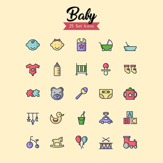 赤ちゃんのアイコンは、アウトラインスタイルを設定 Premiumベクター