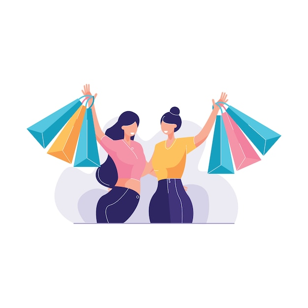 Молодая женщина, наслаждаясь шоппинг вместе векторная иллюстрация Premium векторы