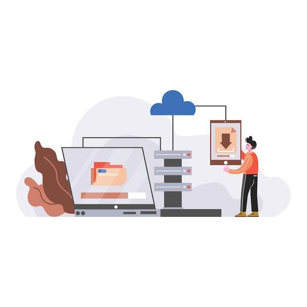 企業データ管理のベクトル図 Premiumベクター