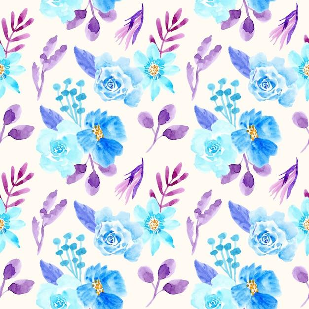 水彩花柄シームレスパターン青と紫 Premiumベクター