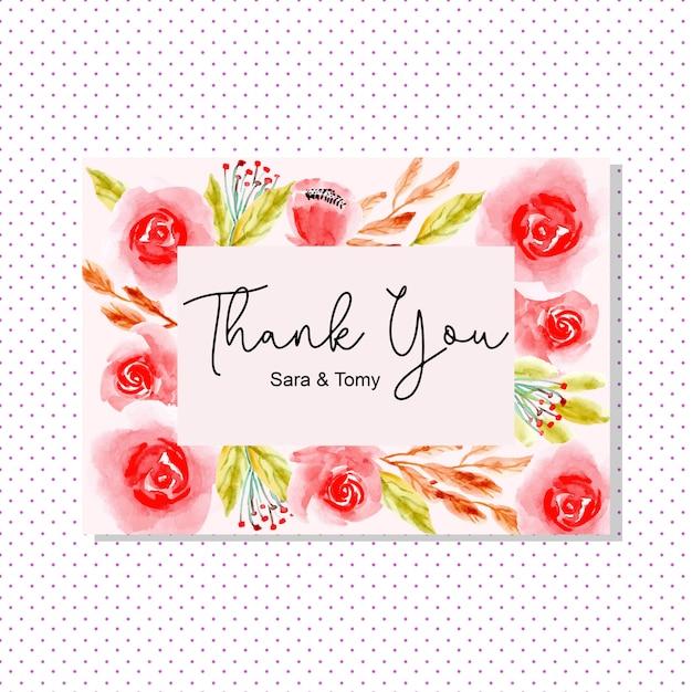 赤い水彩花とありがとうカード Premiumベクター