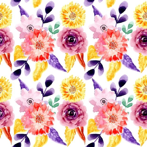 黄色紫水彩花柄シームレスパターン Premiumベクター