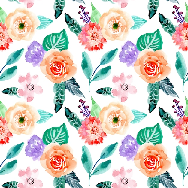きれいな花の水彩画のシームレスパターン Premiumベクター