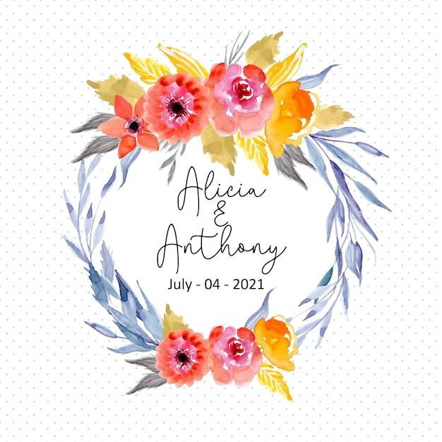 ドットパターン背景と水彩画の花の花輪フレーム Premiumベクター