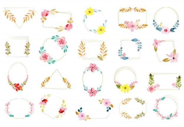 ゴールデンフレームと水彩花のコレクション Premiumベクター