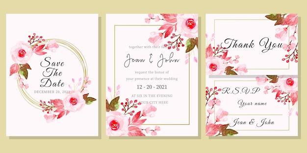 花の水彩画と結婚式の招待カードテンプレート Premiumベクター
