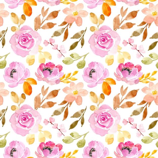 柔らかいピンクの花の水彩画のシームレスパターン Premiumベクター