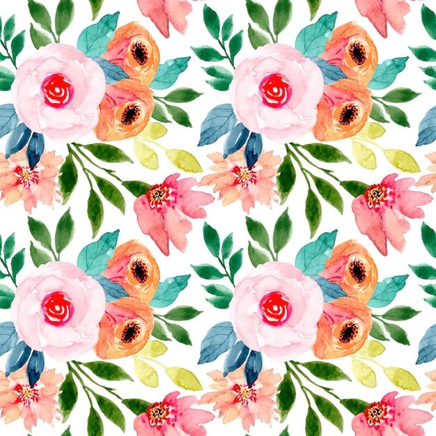 カラフルな水彩花柄シームレス Premiumベクター