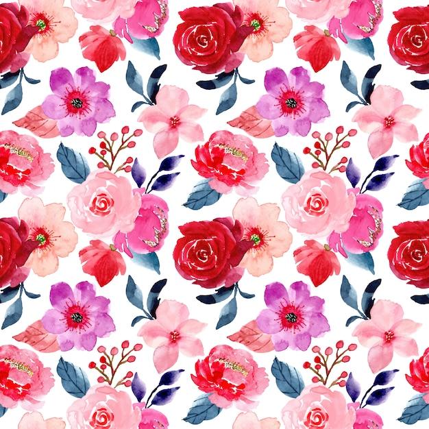 水彩で赤いピンクの花のシームレスパターン Premiumベクター
