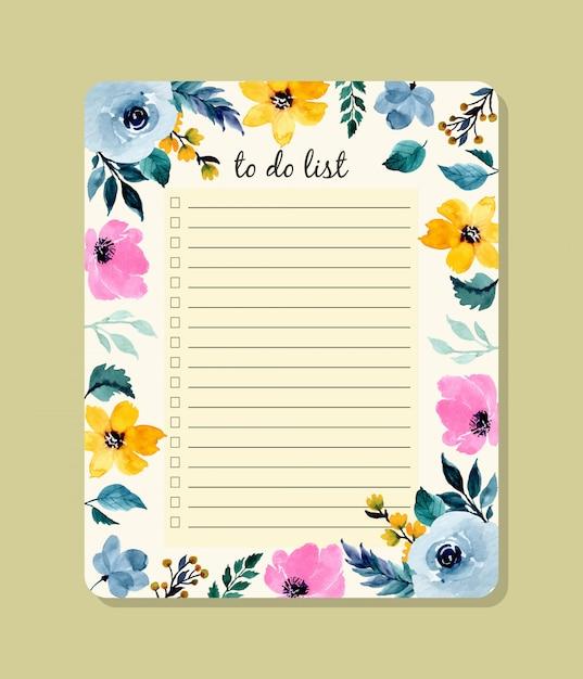 花の水彩画でリストを行う Premiumベクター
