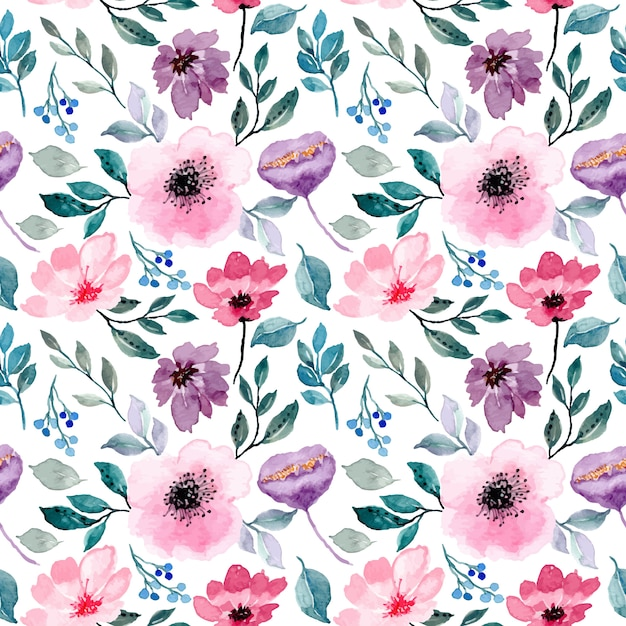 ピンク紫花水彩シームレスパターン Premiumベクター