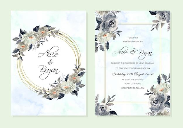 花の水彩抽象の結婚式招待状 Premiumベクター