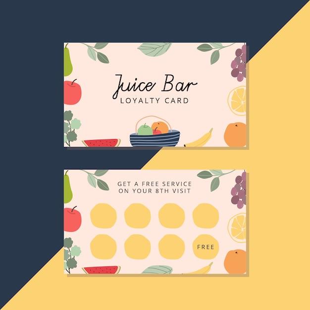 新鮮なフルーツジュースバーのロイヤリティカード Premiumベクター