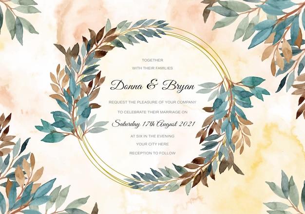 緑の水彩画と結婚式招待状の葉の花輪の抽象的な背景 Premiumベクター
