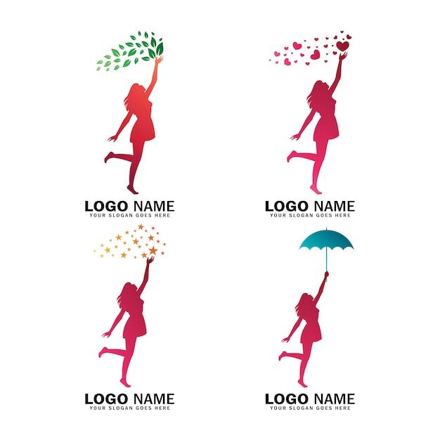 女性のロゴコレクション、スター、ラブ、リーフ、ホールディングパラソル Premiumベクター