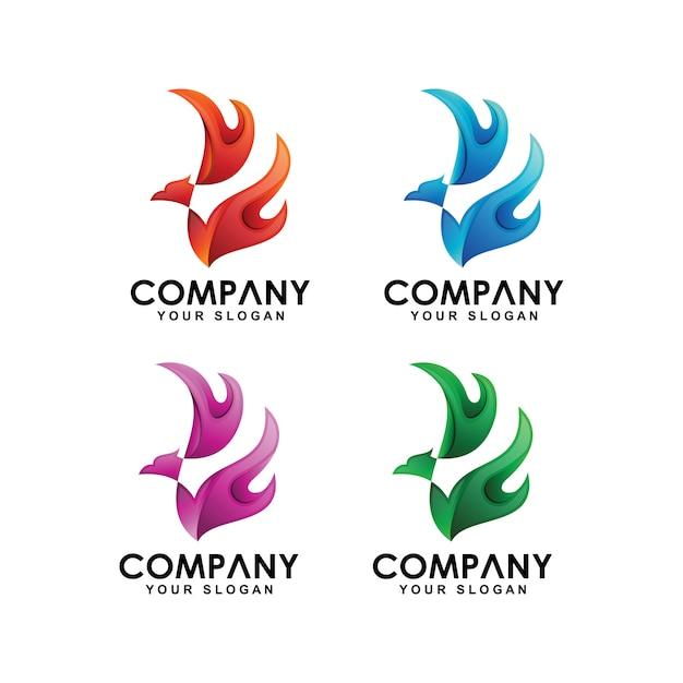Коллекция логотипов феникс Premium векторы