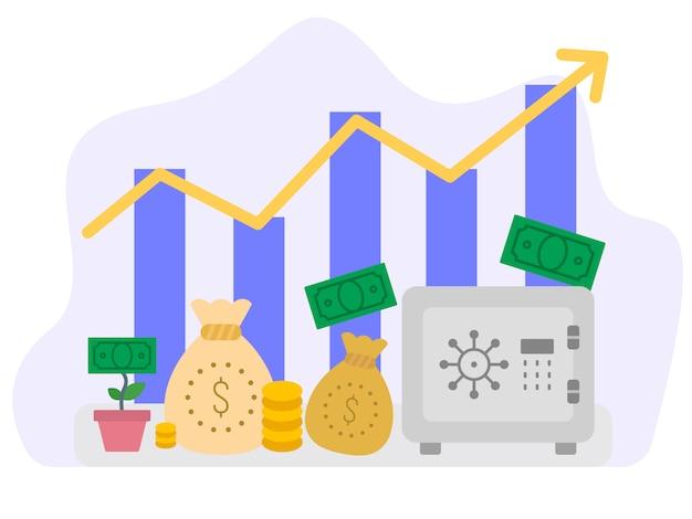 Концепция экономического роста векторные иллюстрации Premium векторы