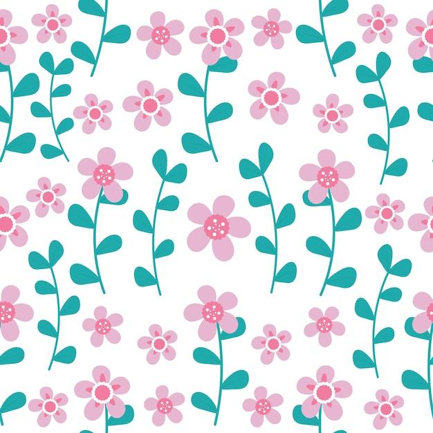 白い背景にピンクの花とシアンの葉のシームレスパターン Premiumベクター
