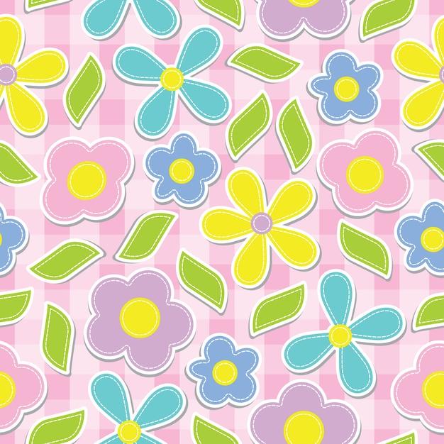 ピンクボックスの背景に黄色、シアン、ピンク、紫色の花のシームレスなパターン Premiumベクター