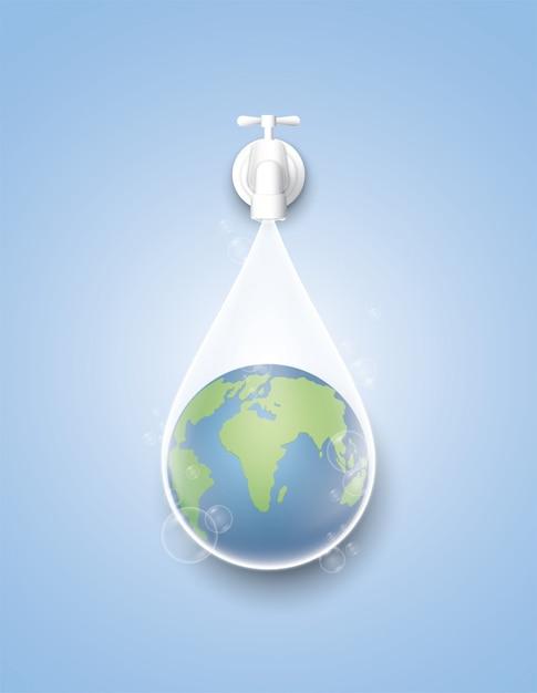 概念は地球と世界の水の日を救います。 Premiumベクター