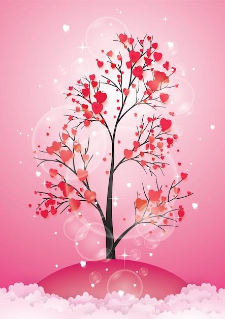 紙の葉とぶら下がっている心の木。 Premiumベクター
