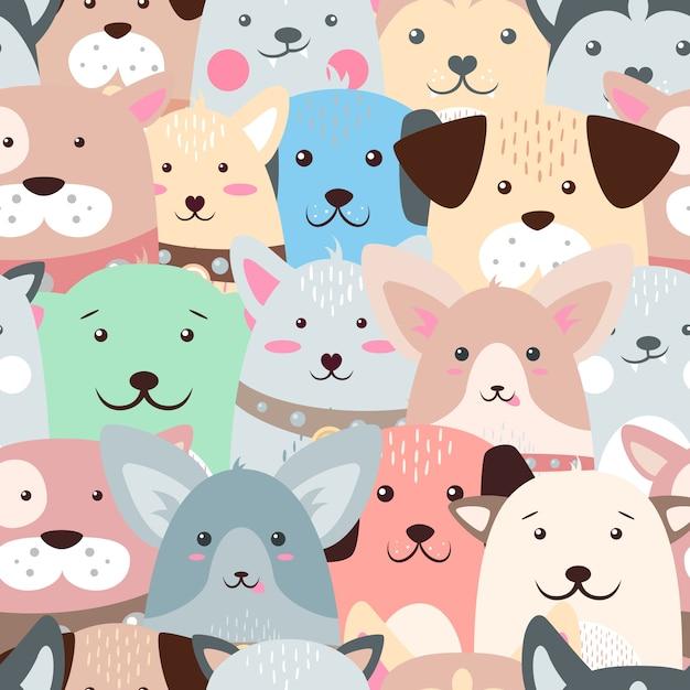動物、犬 - かわいい、面白いパターン。 Premiumベクター