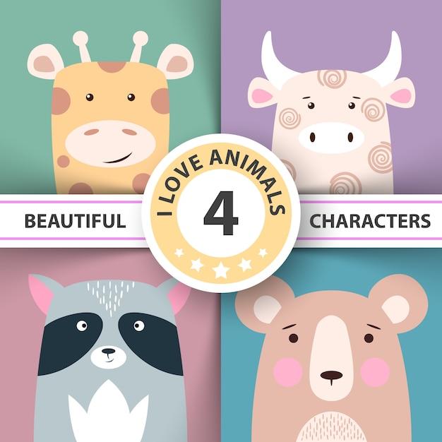 動物のキリン、牛、アライグマのクマを設定する Premiumベクター