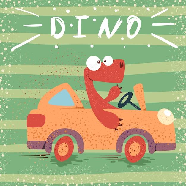 かわいいディノドライブの面白い車 Premiumベクター